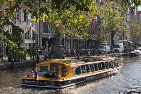 Amsterdam: rondvaart van 90 min. of 24 uur hop-on-hop-off in een luxe boot van Amsterdam...
