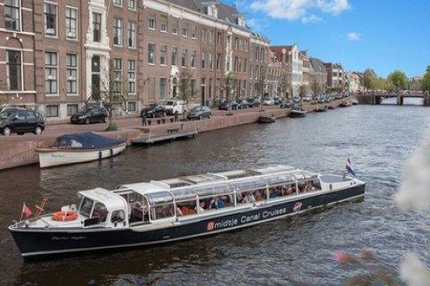Rondvaart van 50 minuten of 24 uur Hop-on Hop-off boot door Haarlem met Smidtje Canal...